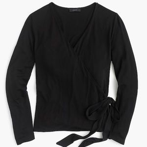 J. Crew Black Wrap top